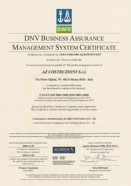 Certificato Sistema Qualità UNI EN ISO 9001 2008